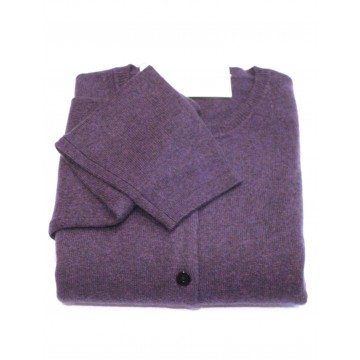 Blackberry Ladies' Crew Cardigan - 100% Cashmere Made in Scotland