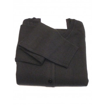 Black Ladies' Crew Cardigan - 100% Cashmere Made in Scotland