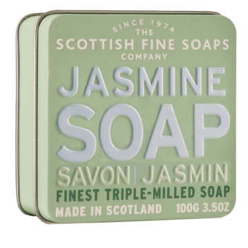 Jasmine Scottish Fine Soap in a Tin - 100g Triple Milled