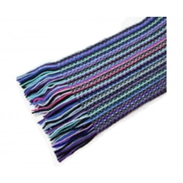 The Scarf Company Blue Striped Lace Stitch Cashmere Scarf