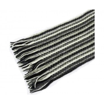 The Scarf Company Black & White Striped Lace Stitch Cashmere Scarf