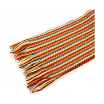 The Scarf Company Orange Striped Lace Stitch Cashmere Scarf