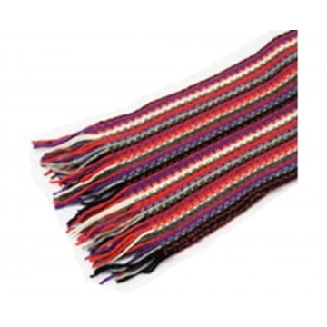 The Scarf Company Purple Striped Lace Stitch Cashmere Scarf