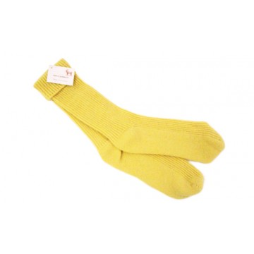 Butter Yellow Cashmere 2 Ply Rib Bed Socks from The Scarf Company