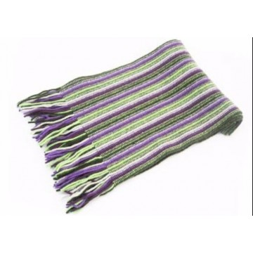 Purple & Green Lambswool Scarf from The Scarf Company - Made in Scotland