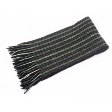 The Scarf Company Dark Grey Striped Cashmere Scarf