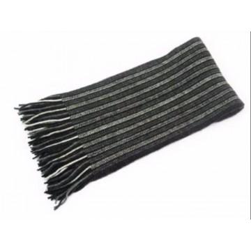 The Scarf Company Dark Grey Striped Cashmere Scarf