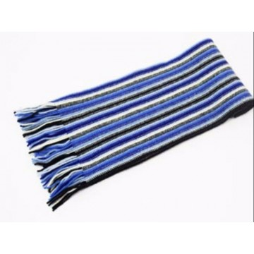 The Scarf Company Deep Blue Striped Cashmere Scarf