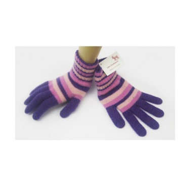 The Scarf Company Purple Striped 2 Ply Cashmere Ladies' Gloves