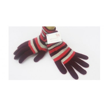 The Scarf Company Maroon Striped 2 Ply Cashmere Ladies' Gloves