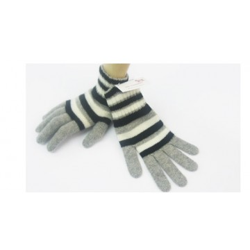 Black & Grey 2 Ply Cashmere Ladies' Gloves from The Scarf Company