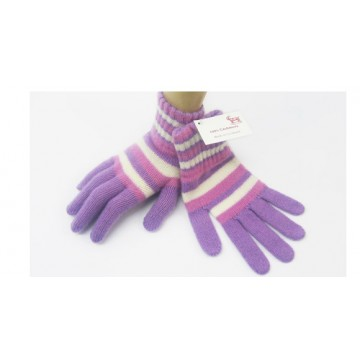 The Scarf Company Lilac striped  2 Ply Cashmere Ladies' Gloves