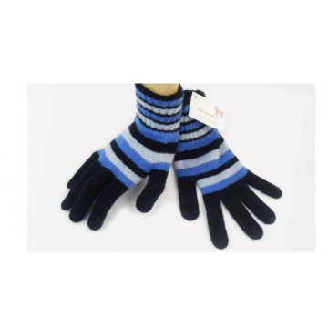 Blue Striped 2 Ply Cashmere Ladies' Gloves from The Scarf Company