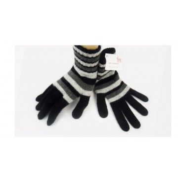 Black Striped 2 Ply Cashmere Ladies' Gloves from The Scarf Company