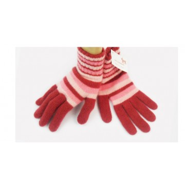 Red & Pink 2 Ply Cashmere Ladies' Gloves from The Scarf Company