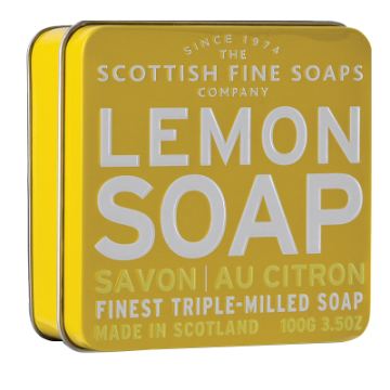 Lemon Scottish Fine Soap in a Tin - 100g Triple Milled