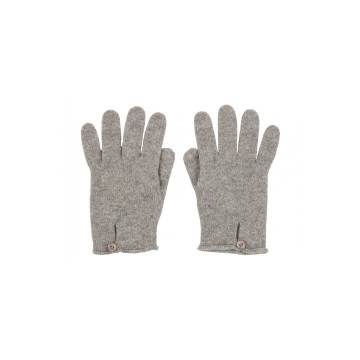 Cashmere Button Loop Glove - Light Grey