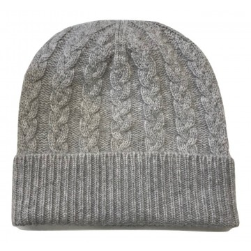 The Scarf Company Light Grey Cashmere 3ply Cable Knit Beanie Hat