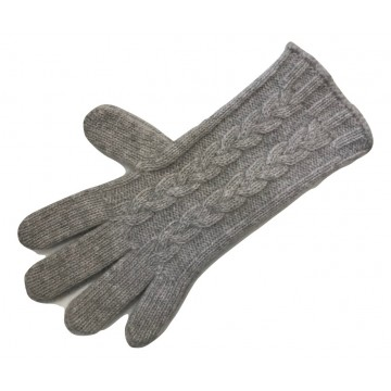 The Scarf Company Light Grey 3 Ply Cable Knit Cashmere Ladies Gloves