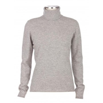 Light Grey Ladies' Roll Neck - 100% Cashmere Made in Scotland