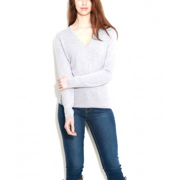 Light Grey Ladies' V-Neck Sweater - 100% Cashmere Made in Scotland