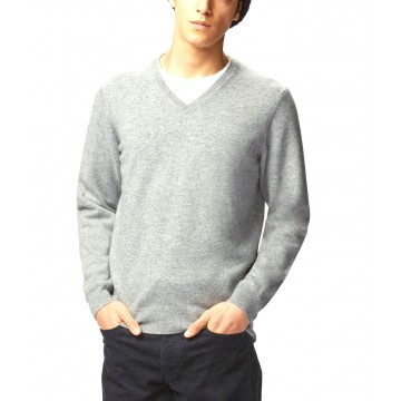 Light Grey Men's V-Neck Sweaters - 100% Cashmere Made in Scotland