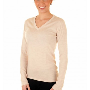 Linen Ladies' V-Neck Sweater - 100% Cashmere Made in Scotland