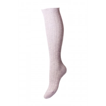 Pantherella Women's Tabitha Knee High Cashmere Ribbed Socks in Light Grey