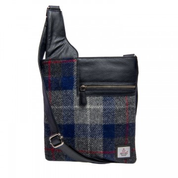 Maccessori Harris Tweed Medium Cross Body Bag in Blue Check
