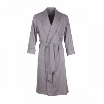 Cashmere Mens Dressing Gown - Light Grey Melange
