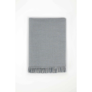 Johnston's of Elgin Extra Fine Merino Houndstooth Throw - Denim