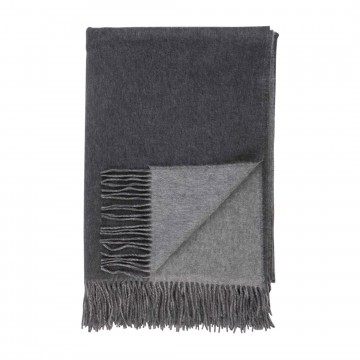 Cashmere Plain Reversible Throw - Mid Grey