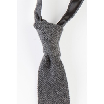 Cashmere Narrow Knitted Tie - Mid Grey