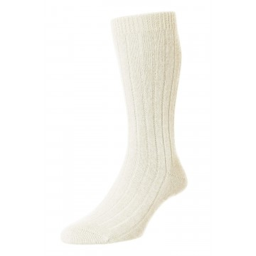 Pantherella Men's Waddington Cashmere Socks - Milk - Medium