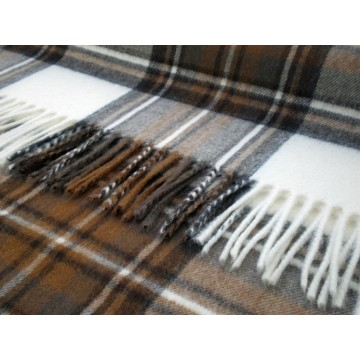 Bronte by Moon 100% Lambswool Tartan Throw - Natural Dress Stewart