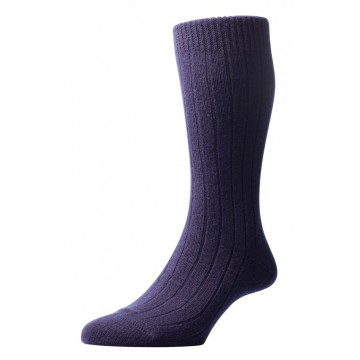 Pantherella Men's Waddington Cashmere Socks - Navy - Medium