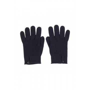 Cashmere Button Loop Glove - Navy