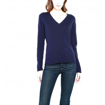 Navy Ladies' V-Neck Sweater - 100% Cashmere Made in Scotland