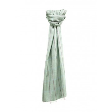 Sinclair Duncan Pale Green Herringbone Lightweight Cashmere and Silk Scarf