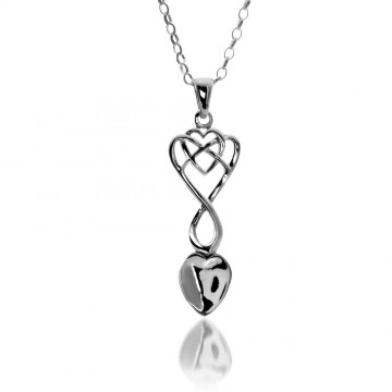 Celtic Welsh Lovespoon Heart Sterling Silver Pendant Necklace