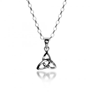 Small Celtic Trinity Knot Sterling Silver Pendant Necklace
