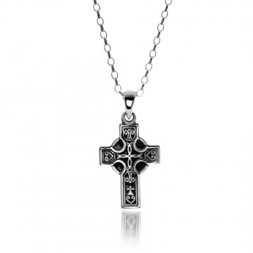 Medium Celtic Cross Sterling Silver Pendant Necklace