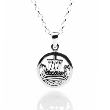 Viking Ship Sterling Silver Pendant Necklace
