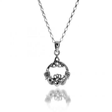 Celtic Claddagh & Knot Sterling Silver Pendant Necklace