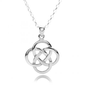 Celtic Knots Round Sterling Silver Pendant Necklace