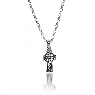 Small Celtic Cross Sterling Silver Pendant Necklace