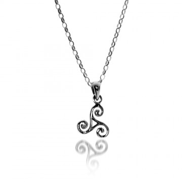 Small  Triskele Sterling Silver Pendant Necklace