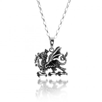 Celtic Welsh Dragon Sterling Silver Pendant Necklace