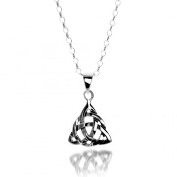 Celtic Trinity Knotwork Sterling Silver Pendant Necklace