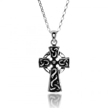 Large Oxid Celtic Cross Sterling Silver Pendant Necklace